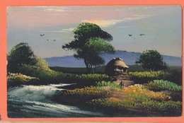 As228 ⭐ Carte Peinte Main 日本 Nihon Japon Rivière Hutte Paysan Pêche Japan 1910s - Other