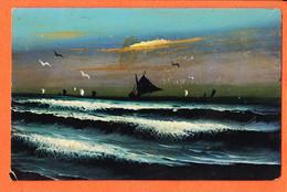 As229 ⭐ Carte Peinte Main 日本 Nihon Japon Paysage Bord De Mer Voilier Pêche Japan 1910s - Other