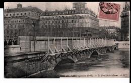 Inondations De Paris (janvier 1910). Le Pont Notre Dame. De Cousin M. Fridière à Son Cousin Et Maria. - Überschwemmung 1910