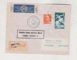 FRANCE  PARIS 1949 Airmail Registered Cover To CAYENNE GUYANNE GUIANA - Briefe U. Dokumente