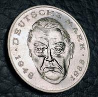 "Germany 2 Mark, 1989 Ludwig Erhard, 40 Years Of The Federal Republic (1948-1988) Mint Mark: ""D"" - Munich - 2 Mark"