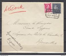 Expres Brief Van Niel Spoorwegstempel Naar Bruxelles - 1936-1951 Poortman