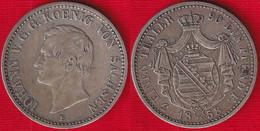 Germany (Saxony) 1/3 Thaler 1858 F Km#1198 - Taler & Doppeltaler