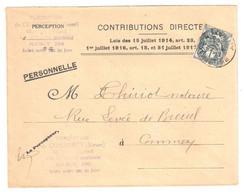 COMMERCY Meuse Lettre Entête Contributions Directes 1c Blanc Yv 107 Ob 1927 - Brieven En Documenten
