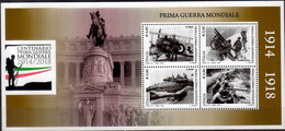 2015 Italy 100 Years Of World War I Military In Air, Sea, Land MS MNH** MiNr. 3788 /91 (Block 74) Aviation Machine - WW1 (I Guerra Mundial)