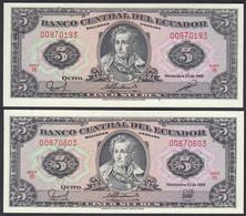 Ecuador 2 X 5 Sucres Banknoten 1988 Verschiedene Unterschriften UNC (1)   (23566 - Andere - Amerika