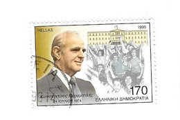 GRECE 1999 - KONSTANTINOS KARAMANLIS POLITICIEN GRECQUE, TIMBRE EN OBLITERATION RONDE, VOIR LE SCANNER - Gebruikt