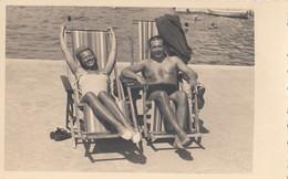 Split - Beach Scene Foto Slavia 1930s Nude Man & Woman Sunbathing - Croatia