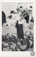 Dubrovnik - Man Feeding The Pigeons Pigeon Old Real Photo - Croatia