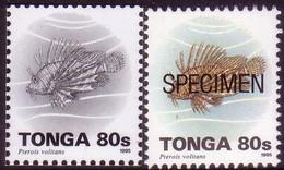Tonga 1995  80s Fish - Proof In Black & White + Specimen - Tonga (1970-...)