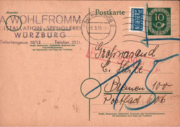 ! Bund 1951, 10 Pfg. Posthorn Ganzsache, Würzburg N. Bremen, P12 B, Nachgebühren - Postkarten - Gebraucht