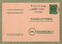 ! Bund 1952, 10 Pfg. Posthorn Funklotterie Ganzsache, Duisburg, FP3 - Postkarten - Gebraucht