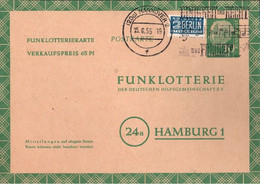 ! Bund 1955, 10 Pfg. Heuss Funklotterie Ganzsache, Hannover, FP5, Maschinenwerbestempel Musik, Nationalhyme, Noten - Postkarten - Gebraucht