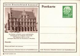 ! Bund 10 Pfg. Heuss Bildpostkarte Bocholt, Rathaus, Lernt Deutschland Kennen - Bildpostkarten - Ungebraucht