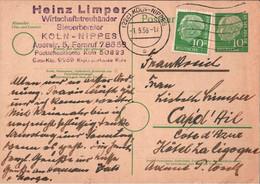 ! 1956 Bund 10 Pfg. Heuss Auslands Postkarte Ganzsache, Köln Nippes, Cap D Ail, P19 - Postkarten - Gebraucht