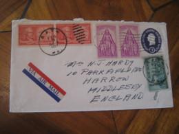 BATH Northampton Pennsylvania PA 1957 To Middlesex England 5 Stamp On Air Mail U533 Postal Stationery Cover USA - 1941-60