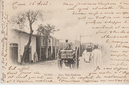 TUNISIE . TUNIS . Rue Bab Sadoun (animée : Carriole à Cheval / Tramway +Pub Rhum Chauvet) - Tunisia