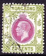 HONG KONG 1921 KGV 20c Purple & Sage-Green SG125 Used - Gebraucht