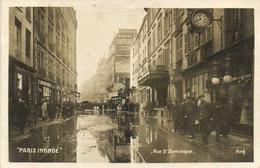 """""""PARIS INONDE """" Rue St Dominique RV - Überschwemmung 1910"""