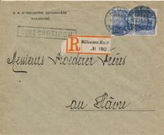 MÜLHAUSEN  - 1920 ,  Perfins / Firmenlochung  -  S. A. D'INDUSTRIE COTONNIERE  -  R-Brief Nach Le Havre / FR - Briefe U. Dokumente