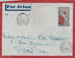 Madagascar Lettre Entier Postal Par Avion Sans Surtaxe MAJUNGA 11/1/1946  Pour Paris Passe Tananarive - Covers & Documents