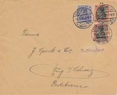 OFFENBACH  - 1920 ,  Perfins / Firmenlochung  - G.K.  Buchdruckerei  -  Brief Nach Zug / CH  ,  Auf Grund ... Geöffnet . - Briefe U. Dokumente