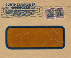 """HANNOVER  -  1920 ,  Perfins / Firmenlochung  -  GÜNTHER WAGNER  """"Pelikan""""  -  Brief Nach Wald / Zürich  CH - Briefe U. Dokumente"""