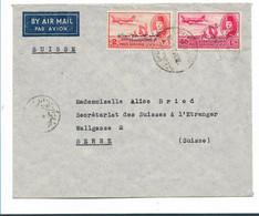 Egy288  / ÄGYPTEN - Luftpost AUSGABE VON 1952, 2 + 40 Mils Mit Aufdruck In Arabisch  Nach Bern, (Suez Kanal Kriese) - Briefe U. Dokumente