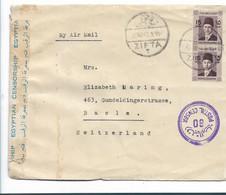 Egy289  / ÄGYPTEN - Faruk-Paar 15 Mils Aus Zifta In Die Schweiz 1940, Zensiert Und Geöffnet - Briefe U. Dokumente