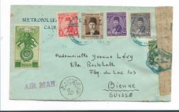 Egy291  / ÄGYPTEN - Zensierte Post 1945 In Die Schweiz (Bienne) - Briefe U. Dokumente