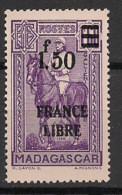 Madagascar - 1942 - N°Yv. 261 - France Libre 1f50 Sur 1f60 - Neuf Luxe ** / MNH / Postfrisch - Unused Stamps