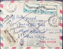CANADA 1971 AEROPLANE,  RETURN TO SENDER, MONTBRISON ,CALGARY, EDMONTON,MONTREAL, WHITECOURT, 12 POSTMARKS, FRANCE COVER - Briefe U. Dokumente