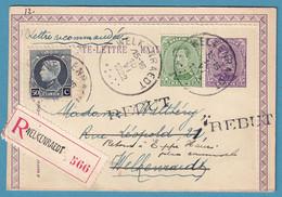 CL 15c + N°137+211 Recommandé De WELKENRAEDT /1922 Pour Ev + REBUT + Refusé50 - 1915-1920 Alberto I