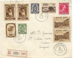 BELGIEN BELGIE BELGIQUE 1939, Reco-Brief Von LEUVEN Nach Dakar/SENEGAL U.a. Rotes Kreuz Frankiert - 1929-1941 Grande Montenez