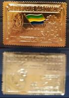 GABON  968 AIRMAIL  GOLD STAMPS DEATH PRESIDENT LÉON MBA YT PA76 MI 316 SC C74 SG 336 - Gabon (1960-...)