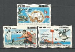 PERU YVERT NUM. 950/952 SERIE COMPLETA USADA - Peru