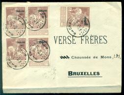 Belgie 1911 Envelop Van Charleroi Naar Brussel Met Blok Van Vier OPB 103 Plus 103 - 1910-1911 Caritas