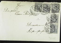 DR: Brief Mit 2 Pf Germania Vom 12.12.00 MeF Von Zwickau Nach Dresden Knr: 68 (5) Mit Ankunfts-Stpl. Rückseitig - Briefe U. Dokumente
