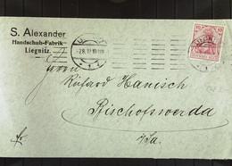 DR: Brief Mit 10 Pf Germania Vom 7.8.12 Aus LIEGNITZ  Abs: S. Alexander Handschuhfabrik Liegnitz Knr: 86 - Briefe U. Dokumente