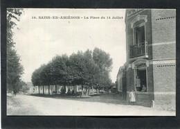CPA - SAINS EN AMIENOIS - La Place Du 14 Juillet, Animé - Other Municipalities
