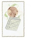 Cpa En Tissus - Médaillon Ange Communiant Hostie - Ajoutis Livre Communion Solennelle - G.P. LA ROSE - Comuniones
