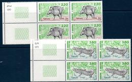 AND  1989 Protection De La Nature : Sanglier Et Triton N°YT 382-383 ** MNH Blocs De 4 - Ungebraucht