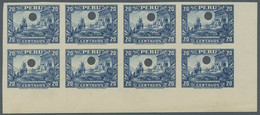 Peru: 1934, Imperforate Proofs From The Waterlow Archives. 10c. Red Horizontal Block Of 12 With Two - Peru
