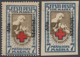 Estland: 1923, Rotes Kreuz 5 M. + 2 M. Mit Aufdruck 'Aita / Hädalist' Gezähnt Und Geschnitten, Ungeb - Estland