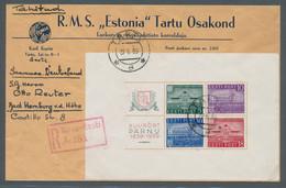 """Estland: 1939, """"100 Jahre Kurort Pernau""""-Block Entwertet """"Tartu 27.6.39"""" Als Einzelfrankatur Auf Obe - Estland"""