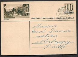 Swiss  Postal Stationary Entier Saanen Used Canselled Concise 20.VII.56 Mountain Jura-Nord Vaudois  Vaud, Schweiz - Cartas