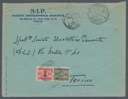 Italien - Portomarken: 1944, Unfrankierter Brief Aus Santhia (Vercelli) Nach Turin, Mit Ortsstempel - Portomarken