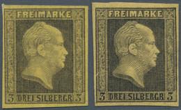Preußen - Marken Und Briefe: 1850, 3 Sgr. Gelb Und Maisgelb, 2 Ungebrauchte Marken Ohne Gummi (4b Mi - Preussen