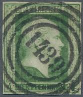 Preußen - Marken Und Briefe: 1856, Freimarke 4 Pfennig Dunkelgrün , Farbfrisch Und Zentral Gestempel - Preussen