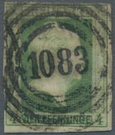 """Preußen - Marken Und Briefe: 1856, Freimarke 4 Pfennig Dunkelgrün, Tieffarbig, Zentraler Klarer """" 10 - Preussen"""